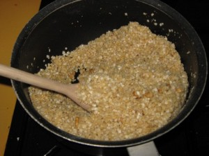 Mixing in the Quinoa Flakes